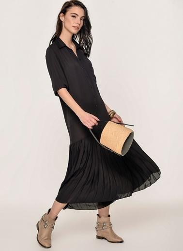 Loves You Eteği Piliseli Şifon Gömlek Elbise Siyah